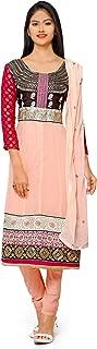 Florence Women's Georgette Straight Salwar Suit Set (SB-3287-Aug2019_Light Peach_One Size)