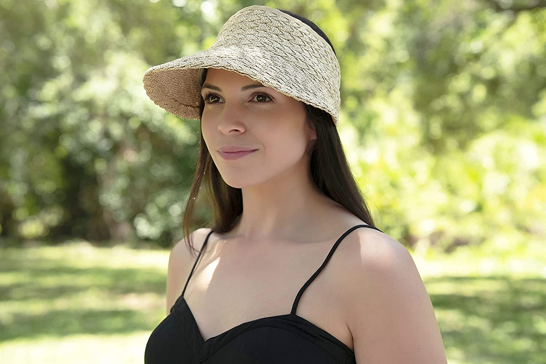 Women's Wide Brim Sun Hats Roll-up Foldable Straw Golf Visor Hat