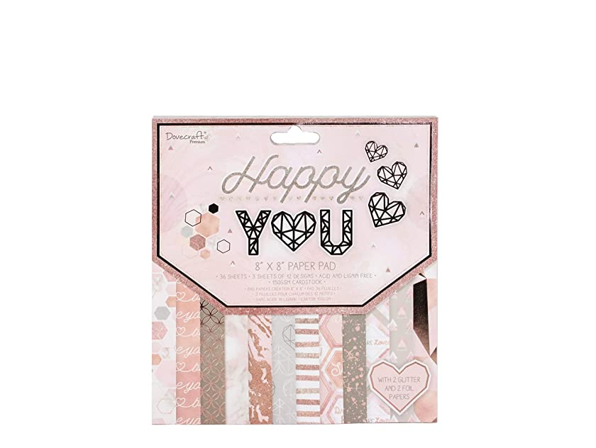 Dovecraft Premium Happy Paper Pad-36, 3 Sheets of 12 Designs-with Glitter and Foil Effects-FSC Certified-for Crafts, Stationery, Journaling, Rose Gold, 8
