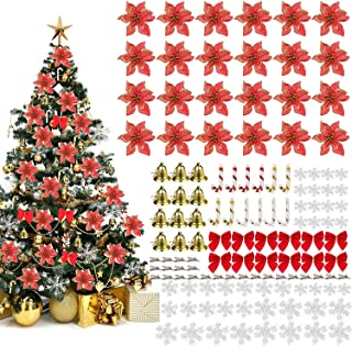 Christmas Tree Decorations Set, 120PCS Sparkling Artificial Christmas Poinsettia Flowers with Clips, Xmas Tree Ornament, S...