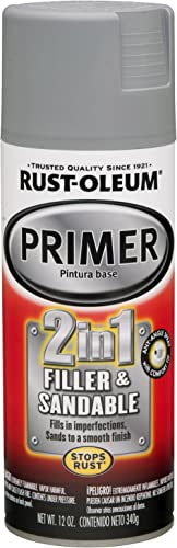 Rust-Oleum 260510 Automotive 2 In 1 Filler and Sandable Primer Spray Paint, 12 oz, Gray