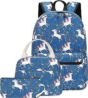 CAMTOP Teens Backpack for School Boys Girls School Bookbag Set Travel Daypack (Angel Unicorn-Dark Blue)