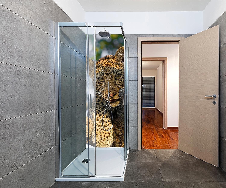 Wandmotiv24 Duschrückwand Leopard in Südafrika 70 x 200cm (B x H) - Aluminium 3mm Duschwand Design, Keine Fugen M1032