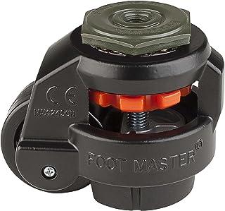FOOTMASTER GD-60S-BLK-1/2 nylon wiel en NBR Pad Leveling Caster, 500 lbs, stuurpen gemonteerd met 0,5 inch montagegat diam...