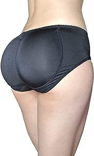 2PS Women Butt Lifter Silicone Padded Control Panties Hip Enhancer Underwear Buttock Briefs (S, Black)