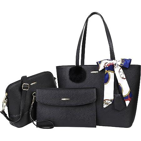 COCASES Handtasche Damen Schultertasche Shopper Große Umhängetasche Tragtasche Set 3-Teilige Handtaschen für Genschenk Büro Schule Einkauf Reise Schwarz