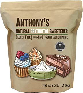 Anthony's Erythritol Granules, 2.5 lb, Non GMO, Natural Sweetener, Keto & Paleo Friendly