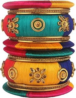 Fashion Jewelry Indian Bollywood Gold Plated Crystal Beaded Multicolor Silk Thread Tassel Bracelet Bangle Set (18 pc)