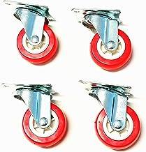 Herran Set met 4 wielen 50 mm voor meubels met montageplaat, 360 graden draaibaar, kleur: rood
