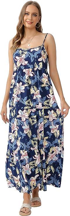 Acrab2018 Women's Casual Bohemian Sleeveless Loose Vibrant Floral Print Spaghetti Strap Tiered Maxi Dress