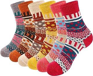 VoJoPi, VoJoPi 6 Pares Calcetines Termicos de Mujer, Calcetines Invierno de Lana Frio Extremo, Calcetines Colores Cálidos de Confort Casual, Talla única 35-40