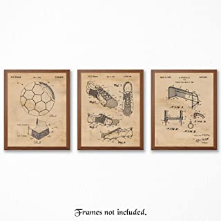 Original Soccer Patent Art Poster Prints, Set of 3 (8x10) Unframed Photos, Great Wall Art Decor Gifts Under 15 for Home, Office, Garage, Man Cave, Gym, Student, Coach, FIFA Futbol, World Cup Fan