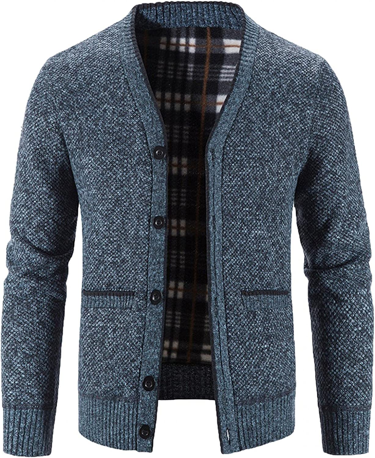 Aayomet Fashion Cardigan for Men Winter Warm Solid Button Long Sleeve V-Neck Casual Pullover Tops Blouses Coat with Pockets
