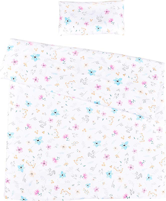 MEJU Flowers 100 Cotton Duvet Cover Pillowcase Bedding Set With Zipper Closure For Baby Toddler Boys Girls Crib Bed Decoration Gift 12