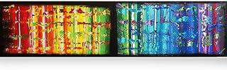 Arco iris y negro abstracto A611 - díptico colorido empaste arte, pinturas abstractas originales del artista Ksavera