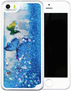 iPhone 6s plus case,liujie Liquid Cool Quicksand Moving Stars Bling Glitter Floating Dynamic Flowing Case Liquid Cover for Iphone 6s plus 5.5inch (butterfly blue)