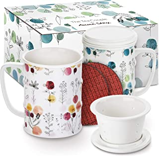 TRIVETRUNNER -ANNA STAY Tea Infuser Mug (Set of 2) 14 oz. Porcelain Tea Cups with Lid and Infuser Ultra-Fine Mesh for Steeping - 2 Heat-Resistant, Non-Slip Drink Coasters (Bloom)