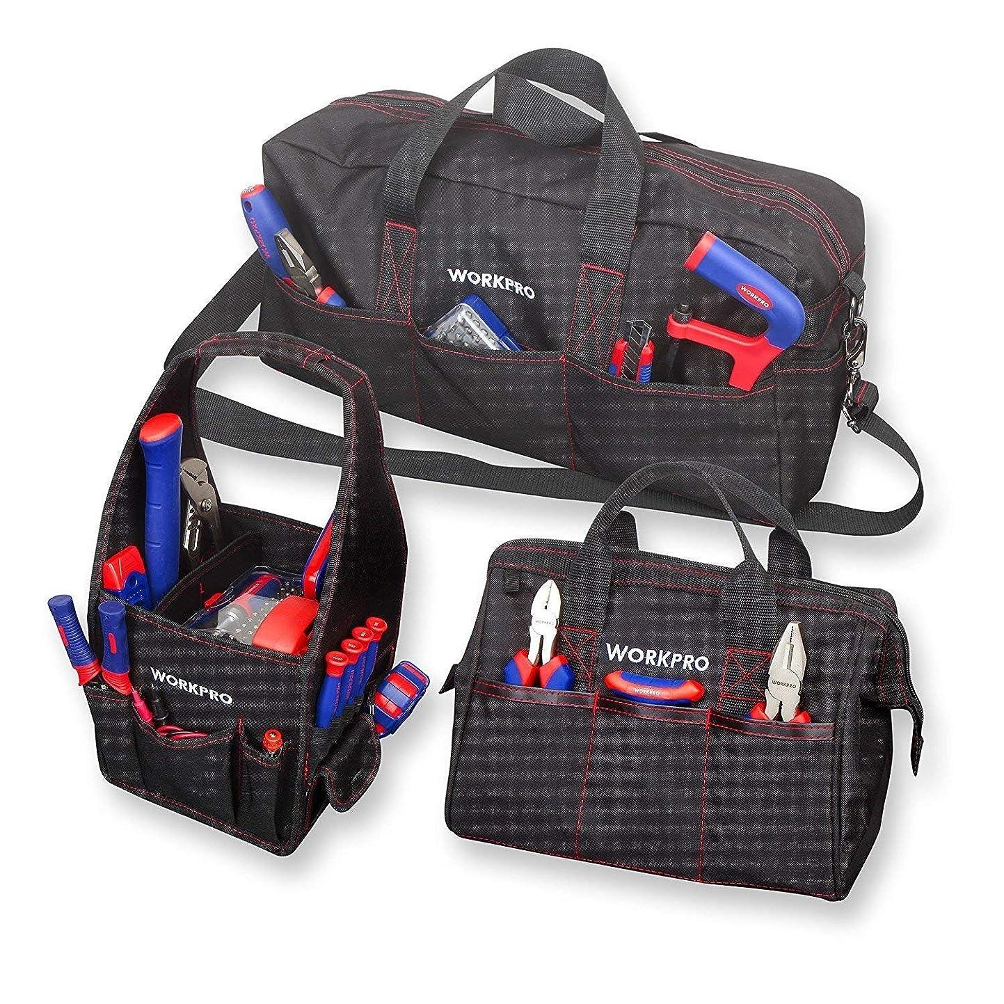 静脈虚弱休眠WORKPRO ツールバッグ3点セット 工具バッグ ショルダーバッグ ハンドバッグ 工具入れ 工具収納 3サイズ道具袋