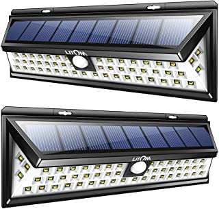 LITOM Solar Lights Outdoor, 54 LED Super Bright 270°Wide Angle Motion Sensor Lights, Wireless Waterproof Security Solar Light for Front Door, Yard, Garage, Deck, Porch, Shed, Walkway, Fence (2 Pack)