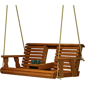 Porchgate Amish Heavy Duty 800 Lb Rollback Console Treated Porch Swing With Hanging Ropes (Cedar Stain)