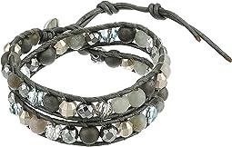 "12"" Silver Agate Double Wrap Bracelet"