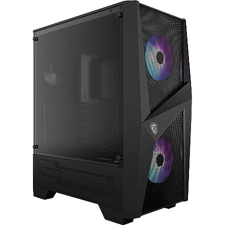 MSI MAG FORGE 100R Mid Tower Gaming PC Case (Black, 2 x 120mm ARGB fans, 1 x 120mm Rear fan, 2 x USB 3.2 Gen1 Type-A, Tempered Glass Panel, Magnetic Dust Filter, Mystic Light RGB, ATX, m-ATX, Mini-ITX