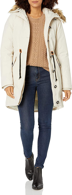 Amazon Essentials Women's Water Resistant Long Sleeve Longer Length Parka with Faux Fur Trim Hood