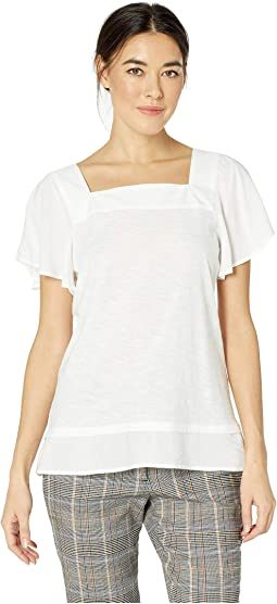 Short Sleeve Squared Neck Layered Top