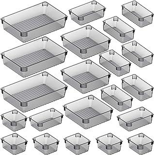 Puroma 21-pcs Desk Drawer Organizer Trays, 4 Different Sizes Large Capacity Plastic Bins Kitchen Drawer Organizers Bathroo...