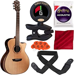 Washburn Comfort Series WCG20SCE Acoustic-Electric Guitar with Clip-On Tuner, Strap, Strings, and Accessory Bundle