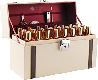 JackCubeDesign Nail Polish Organiser Makeup Train case 48 Compartments Removable Tray(Ivory Leather)-MK406C
