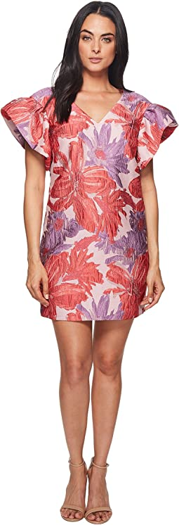 Badgley Mischka Floral Jacquard Runway Dress