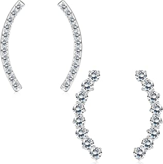 Sterling Silver Ear Climber Cuff Earrings for Women Round Cut Cubic Zirconia Crawler Stud Earrings Jackets Set Hypoallergenic 2 Pairs