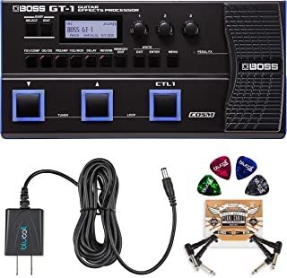 BOSS GT-1 Guitar Multi-Effects Processor Bundle with BOSS Tone Studio, Blucoil 9V DC Power Supply, 2-Pack of Pedal Patch Cables and 4-Pack of Celluloid Guitar Picks