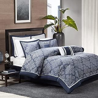 Madison Park Medina 8 Piece Jacquard Comforter Set, Navy, Cal King
