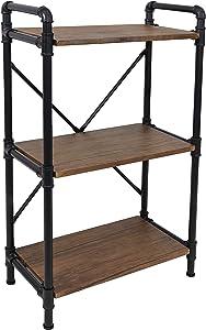 Sunnydaze 3-Tier Freestanding Industrial Bookshelf for Living Room - Black Pipe Style Frame with Wood Veneer Shelves - Teak