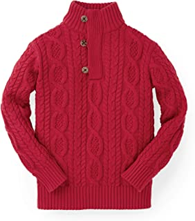 Boys' Mock Neck Cable Sweater with Button Placket