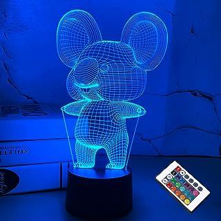 FULLOSUN 3D Koala Nachtlampje Dierlijke Illusie LED Lamp voor Kinderkamer Decoratie met Afstandsbediening 16 Kleur Verande...