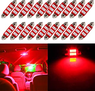 cciyu Festoon LED Bulb,  20Piece Red 41MM 214-2 212-2 569 6413 Epistar Light Bulbs 4014 12SMD Replacement fit for Interior Dome Map Light
