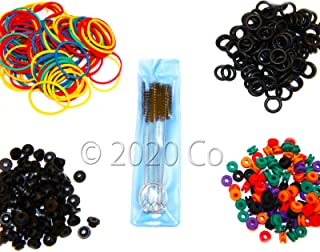 100 Tattoo O-rings, 100 Rubber Bands, 100 Grommets, 100 Nipples & 1 Brush Set