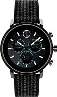 Movado Connect 2.0 Unisex Powered with Wear OS by Google Stainless Steel and Black Velcro Fabric Smartwatch, Color: Black (Model: 3660031)