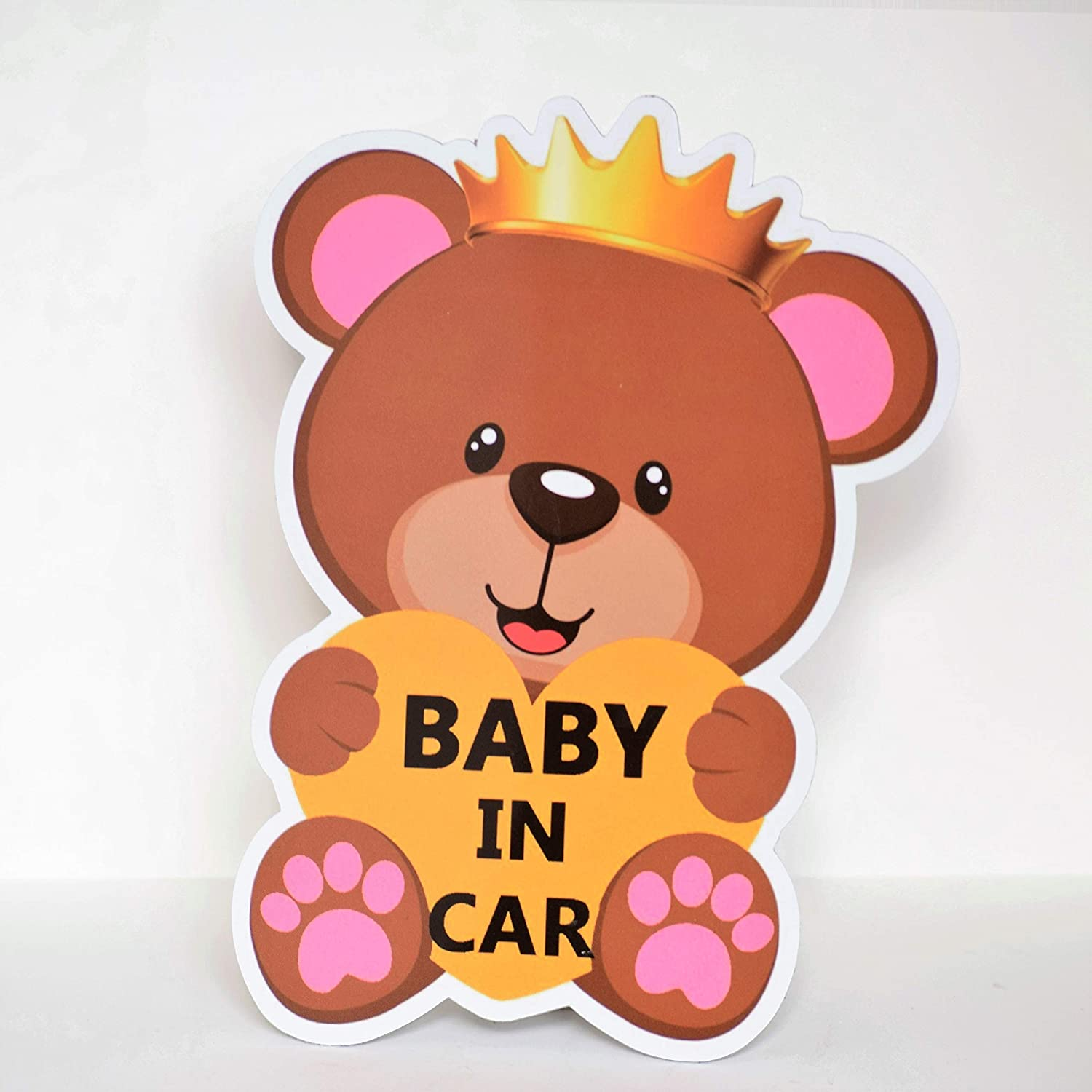 CHUBBYCHEEKS Baby in CAR Magnet Sign for Car, Water Resistant, Weather Resistant with UV Protected Film (Pink)
