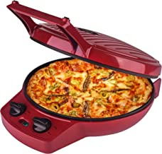 Courant Pizza Maker, 12 Inch Pizza Cooker and Calzone Maker, with Timer &Temperatures control, 1440 Watts Pizza Oven convert to Electric indoor Grill, Red