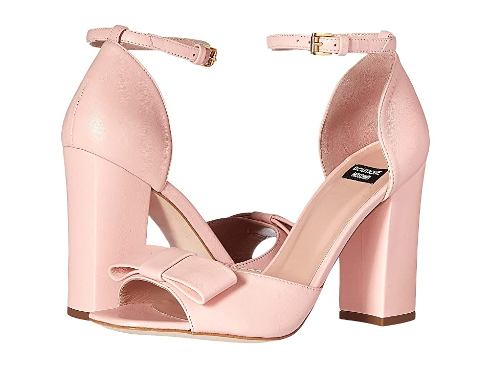 Boutique Moschino Ankle Strap Heel with Bow (Blush) Women
