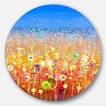 لوحة فنية عصرية من Designart Abstract Flower Field بألوان مائية - قرص من 11 بوصة، ارتفاع 28 سم × عرض 28 سم × عمق 27 سم، لو...