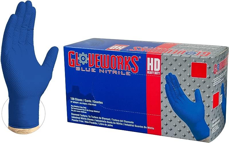 GLOVEWORKS HD Industrial Blue Nitrile Gloves 6 Mil Latex Free Powder Free Diamond Texture Disposable Medium GWRBN44100 BX Box Of 100