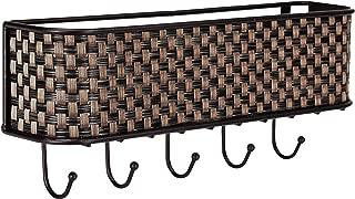 Home Basics Wall Mount Mail Letter Organizer Basket Shelf and 5 Key Hook/Holder in Brown Weave