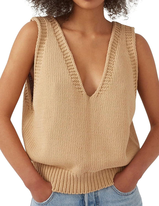 Himosyber Crochet V Neck Sleeveless Sweater Rib-Knit Tank Tops Vest for Women
