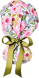 Peonies Floral Ponytail Scrub Cap for Women with Olive Green Ribbon