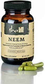 Isha Organic Neem Supplement — Natural Ayurvedic Herbal Cleanser and Purifier: Boosts Immunity - 90 Vegetarian Capsules, 950 mg Each